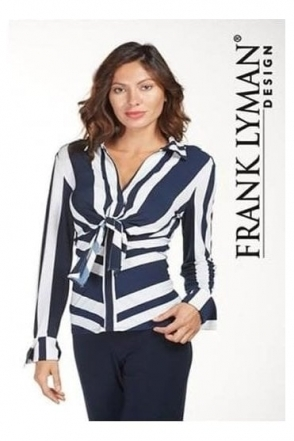 Stripe Tie Knot Detail Blouse - 181593