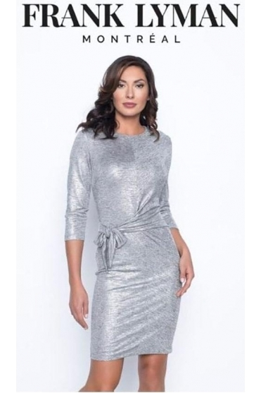 Tie Knot detail Dress - Silver - 195430