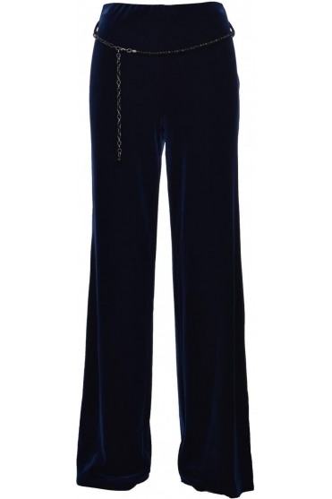 Velvet Wide Leg Bead Belt Trousers - 179226