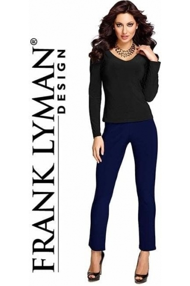 Wide Band Slim Leg Trousers - Midnight - 082
