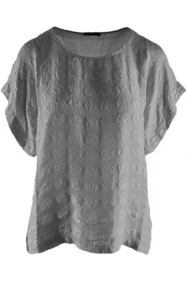 Bubble Pattern Silk Blouse - Light Grey - 51762-S134-154