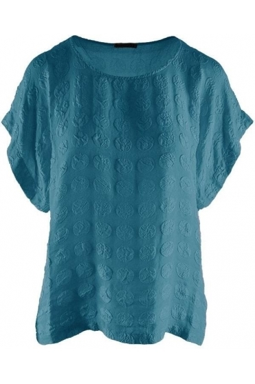 Bubble Pattern Silk Blouse - Ocean - 51762-S134-183