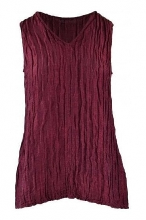 Crinkle Linen Blend Sleeveless Top - Burgundy - 52093-ST1-175