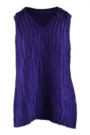 Crinkle Linen Blend Sleeveless Top - Royal Purple - 52093-ST1-178