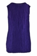 GRIZAS Crinkle Linen Blend Sleeveless Top - Royal Purple - 52093-ST1-178
