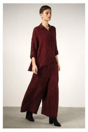 Crinkle Linen Blend Trousers - Burgundy - 3649-ST1-175