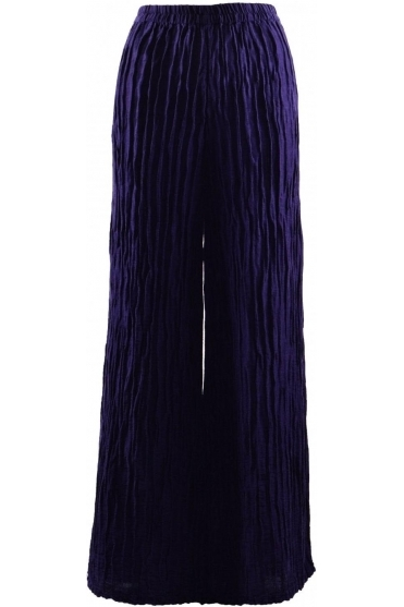 Crinkle Linen Blend Trousers - Royal Purple - 3649-ST1-178