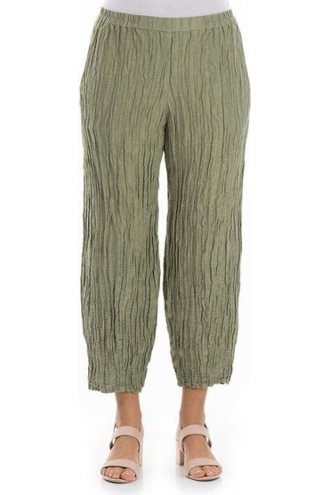 Crinkle Silk Blend Pencil Trousers - Khaki - 3466-ST2-189