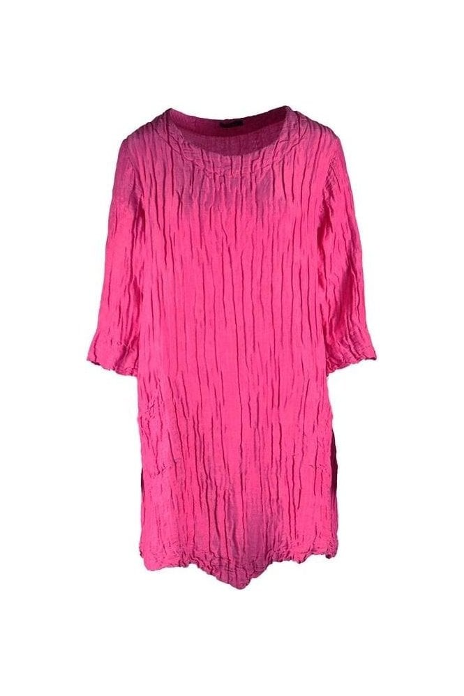 GRIZAS Crinkle Silk Blend Pocket Detailed Tunic - Pink- 5248-ST1-181
