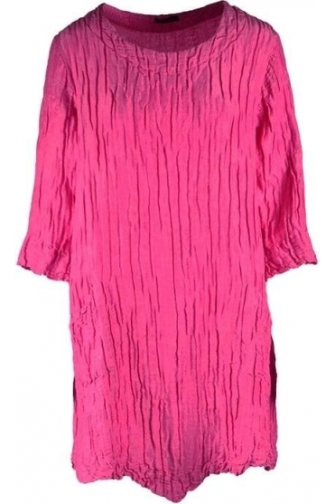 Crinkle Silk Blend Pocket Detailed Tunic - Pink- 5248-ST1-181