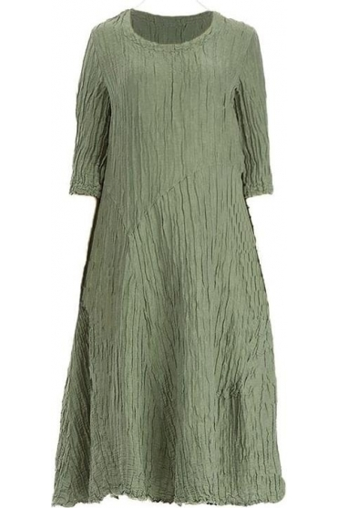 Crinkle Silk Blend Pocket Dress - Khaki - 91126-ST1-189