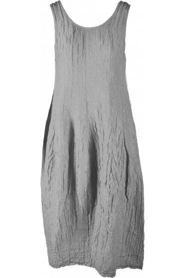 Crinkle Silk Blend Sleeveless Dress - Light Grey- 9090-ST1-154