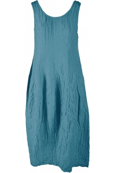 Crinkle Silk Blend Sleeveless Dress - Ocean - 9090-ST1-183