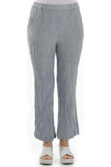 Crinkle Silk Blend Trousers - Light Grey - 3647-ST2-154