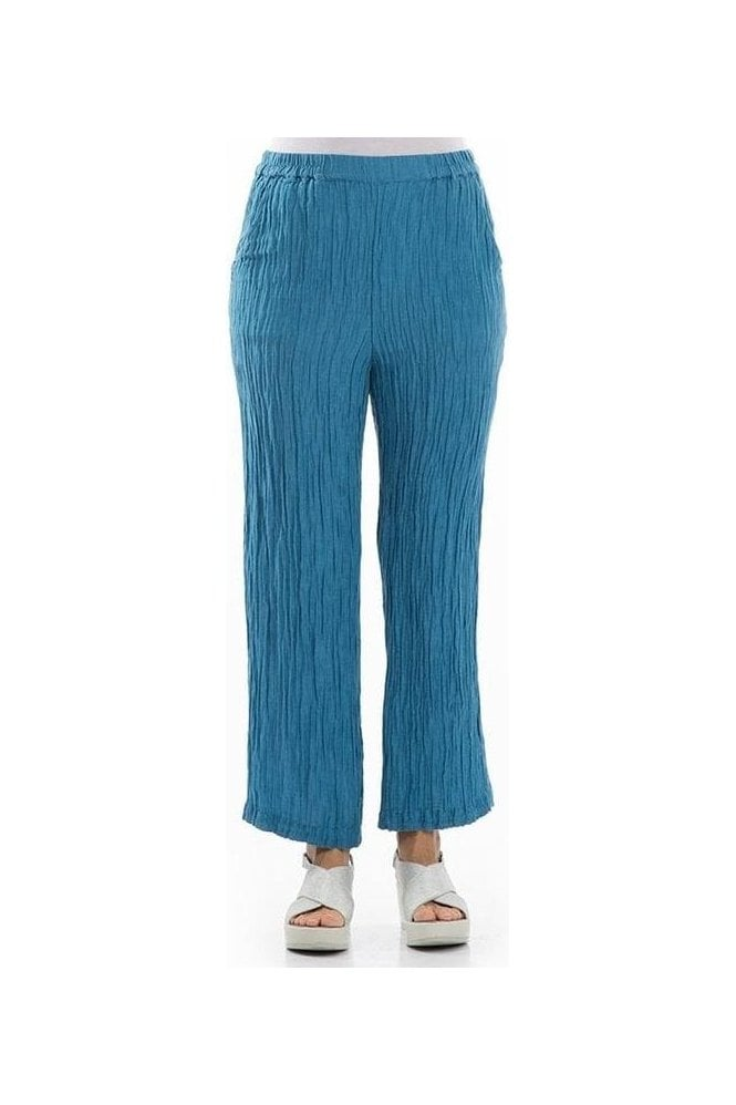 GRIZAS Crinkle Silk Blend Trousers - Ocean Blue - 3647-ST2
