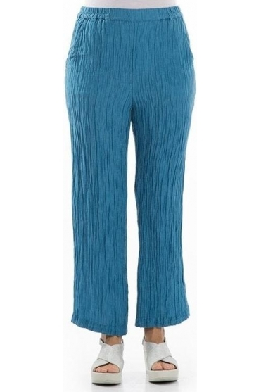 Crinkle Silk Blend Trousers - Ocean Blue - 3647-ST2