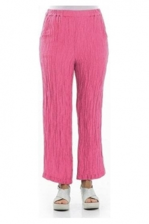 Crinkle Silk Blend Trousers - Pink- 3647-ST2-181