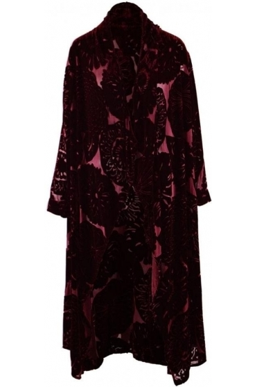Devoré Floral Silk Blend Cover Up - Burgundy - 71009-X9-175