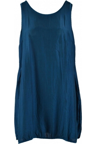 Sleeveless Bamboo/Silk Blend Tunic - Dark Teal - 52126-S3-104