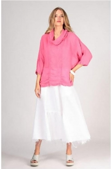 Textured Cowl Neck Top - Pink - 5403-ST1-181