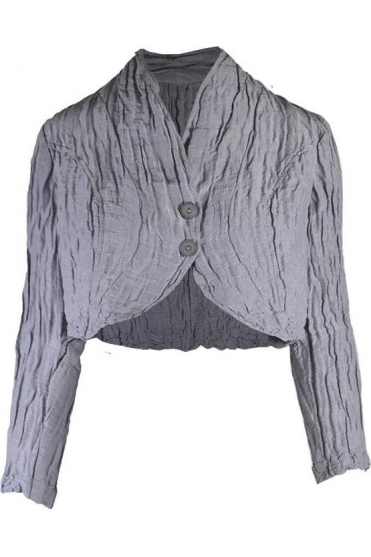 Textured Linen Blend Cropped Jacket - Light Grey - 7535-ST1-154