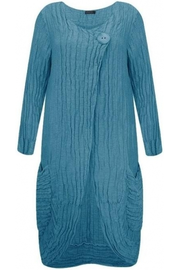 Textured Linen Blend Longline Cover Up - Ocean - 7538-ST2-183