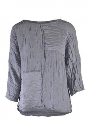 Textured Patch Linen Blend Top - Light Grey - 52172-ST1-154