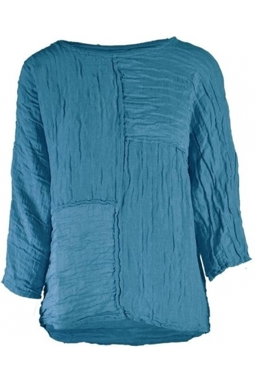 Textured Patch Linen Blend Top - Ocean - 52172-ST1-183