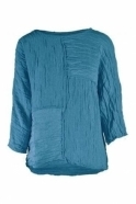 GRIZAS Textured Patch Linen Blend Top - Ocean - 52172-ST1-183