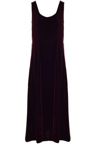 Velvet Balloon Hem Dress - Burgundy - 9090-X20-175