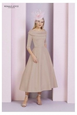 Bateau Sleeved Dress - 29333 Taupe