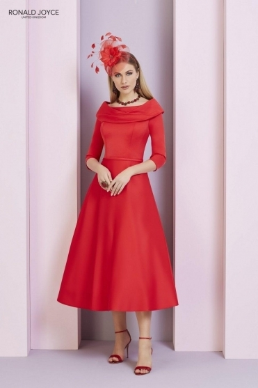 Bateau Sleeved Dress - 29333 Red
