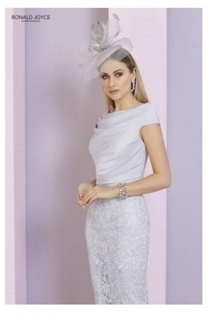 Lace Detail Dress - Silver - 29325