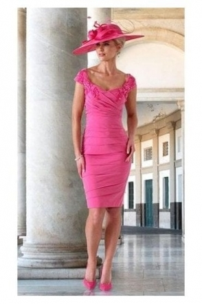 Pleated Appliqué Detail Dress - Lipstick Pink - IR5065
