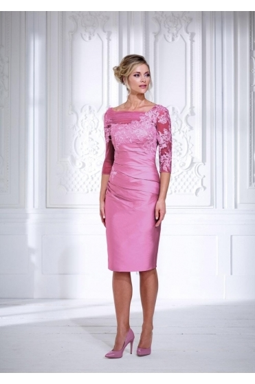 Taffeta & Lace Applique Dress - IR4012