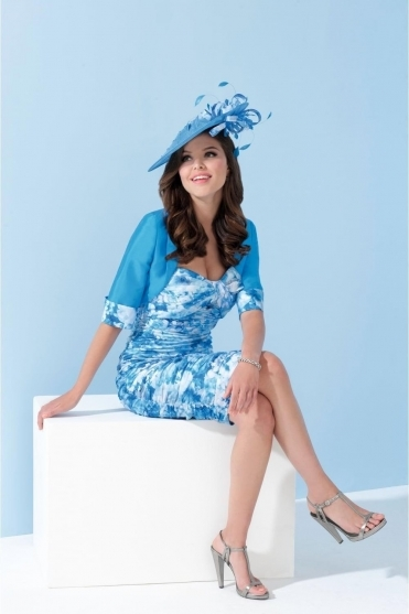 Floral Print Ruched Two Piece - Electric Blue - IW920