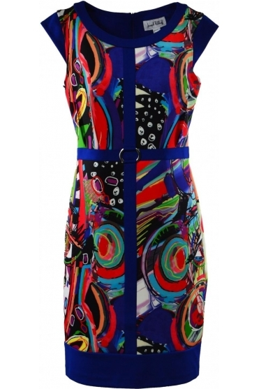 Abstract Print Cap Sleeve Dress - 191696