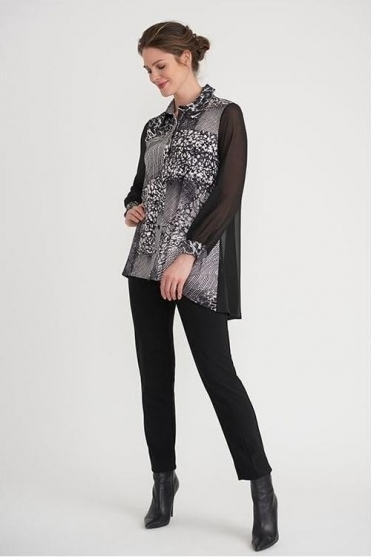 Abstract Print Chiffon Detail Blouse - Black/Vanilla - 203405