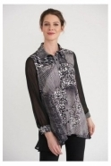 Joseph Ribkoff Abstract Print Chiffon Detail Blouse - Black/Vanilla - 203405