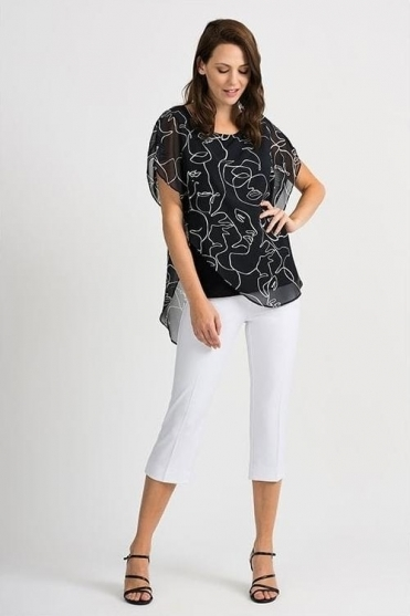 Abstract Print Chiffon Overlay Blouse - Black - 201151
