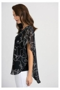 Joseph Ribkoff Abstract Print Chiffon Overlay Blouse - Black - 201155