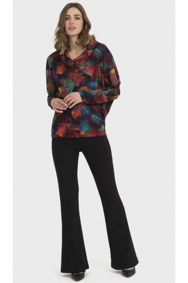 Abstract Print Cowl Neck Top - Red/Multi - 194630