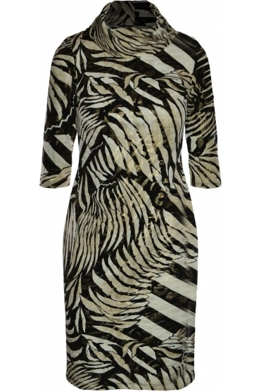 Abstract Print Cowl Neckline Dress - 193017X
