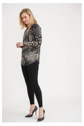 Abstract Print Diamante Detail Top - Black/Vanilla - 203368