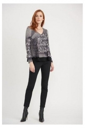 Abstract Print Double Layer Top - Black/Vanilla - 203354