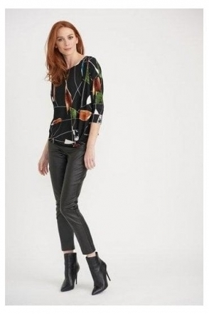 Abstract Print Drape Top - Black/Multi - 203462