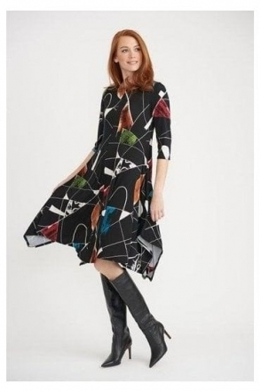 Abstract Print Dress - Black/Multi - 203426