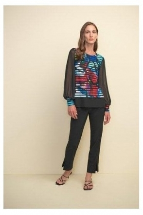 Abstract Print Mesh Sleeve Top - Black/Multi - 211100