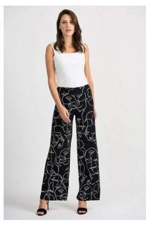 Abstract Print Pull on Trousers - Black/Vanilla - 201184