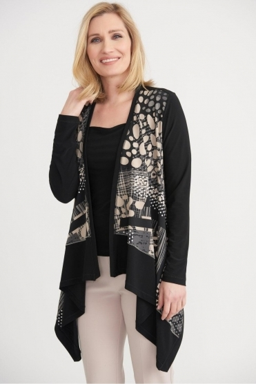 Abstract Print Waterfall Drape Cover Up - Black/Vanilla - 203273